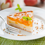 Peach pie. Delicious peach cake dessert on a plate Stock Photo