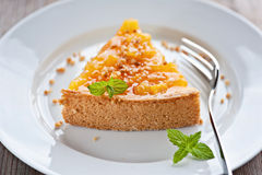 Peach pie. Delicious peach cake dessert on a plate Stock Image