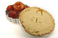 Peach Pie and Fresh Peaches Stock Photography