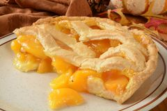 Peach pie on a holiday table Stock Photo