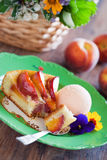 Peach pie with ice cream Royalty Free Stock Photo