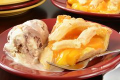 Peach pie and ice cream Royalty Free Stock Photo
