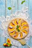 Peach pie with yogurt. Stock Image