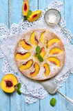 Peach pie with yogurt. Stock Images