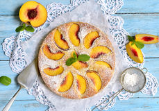 Peach pie with yogurt. Royalty Free Stock Photography