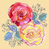 Peach pink red roses small bouquet Royalty Free Stock Images