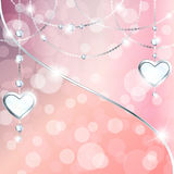 Peach pink sparkly banner with heart-shaped pendants. Elegant romance-themed background with gemstone pendants. Graphics are grouped and in several layers for Royalty Free Stock Images