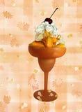 Peach On Plaid. Fresh peach sundae on a plaid background royalty free stock image