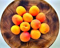 Peach plate,fresh and delicious stock image
