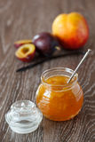 Peach-plum jam with vanille Stock Photo