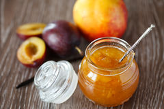 Peach-plum jam with vanille Royalty Free Stock Image