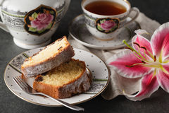 Peach pound cake. On table Royalty Free Stock Image