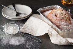Peach pound cake. On table Stock Image