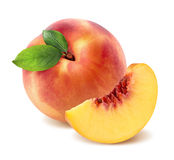 Peach and quarter piece  on white background Stock Photography