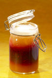 Peach,raspberry and apricot jam Stock Images