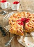 Peach and raspberry cake. Homebake Peach and raspberry cake Royalty Free Stock Images