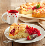 Peach and raspberry cake Stock Image