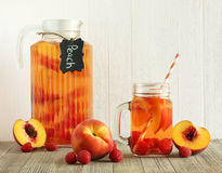Peach and raspberry drink Royalty Free Stock Photo