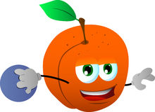 Peach rolling a bowling ball Royalty Free Stock Photo