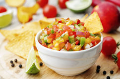 Peach salsa Stock Photo