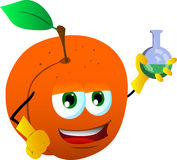 Peach scientist holds beaker of chemicals Stock Photography