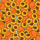 Peach seamless pattern. Blue background. Juicy fruits background stock illustration
