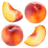 Peach and slice. Collection isolated on white. Royalty Free Stock Images