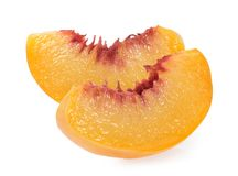 Peach slice isolated on white background.  Stock Photo