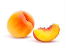 Peach And Slice. Vector Stock Photography