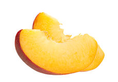 Peach slice on white Royalty Free Stock Photography