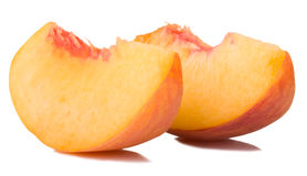 Peach slices. On white background Stock Image