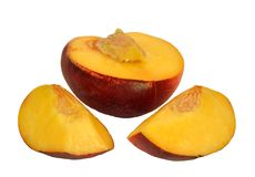 Peach and slices Royalty Free Stock Images