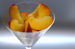 Peach slices II. Peach slices in a glass Stock Photo