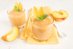 Peach smoothie dessert Royalty Free Stock Photos