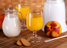 Peach smoothie in the glass Royalty Free Stock Image