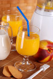 Peach smoothie in the glass Stock Photo