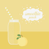 Peach smoothie in jar on a table Royalty Free Stock Photos