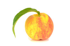 Peach solo with Leaf. Isolated on white backround Royalty Free Stock Photos