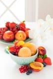 Peach sorbet. And fresh berries, selective focus Stock Photos