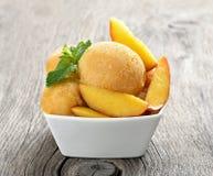 Peach sorbet ice cream Royalty Free Stock Photos