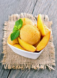 Peach sorbet with mint Royalty Free Stock Photo