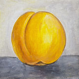 Peach still life painting. Still life oil painting of a peach Royalty Free Stock Image