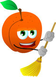 Peach sweeping with broom Royalty Free Stock Photography