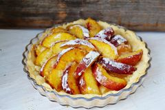 Peach Tart. Homemade peach tart with vanilla Royalty Free Stock Photo