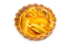 Peach tartlet individual pastry stock photo