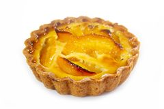 Peach tartlet individual pastry stock photography