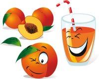 Peach tea or juice and peaches vector illustration
