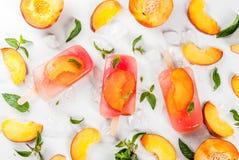 Peach tea popsicles Stock Photography