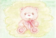 Peach Teddy bear with a bow. On a lace background. Hand drawn watercolor illustration Stock Photo