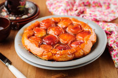 Peach and Thyme Tart Tatin Stock Photo